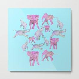 Pink and Lavender Elephants Metal Print