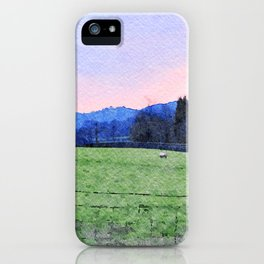 Sheep on the farm at Dawn in Grasmere,Lake District, UK Watercolour Painting iPhone Case
