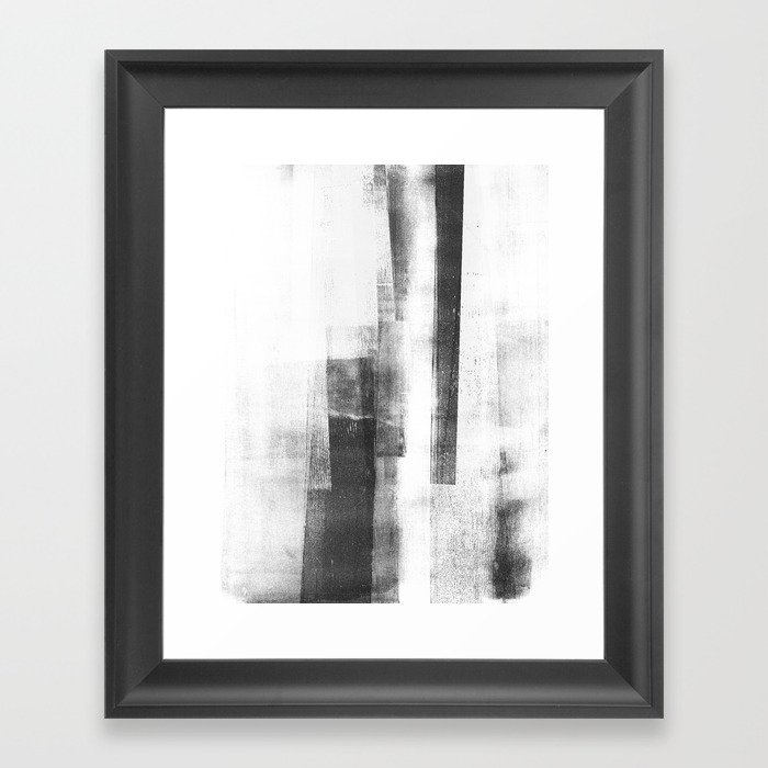 Black and White Minimalist Geometric Abstract Painting \