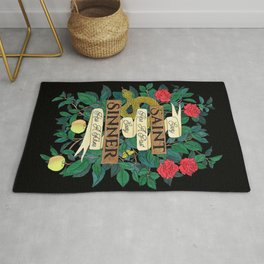 Saints & Sinners Quote on Black Rug