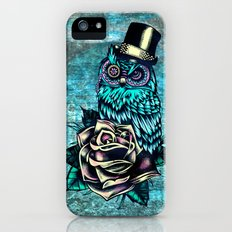 Tattoo style owl with top hat and rose. Rockabilly style.  Slim Case iPhone (5, 5s)