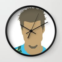 tyler durden Wall Clocks featuring Tyler Durden Fight Club by Rosaura Grant