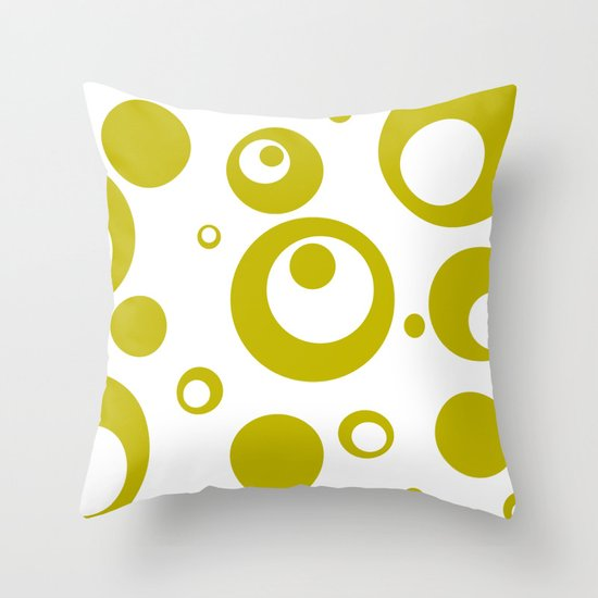 Circles Dots Bubbles :: Citron Inverse Throw Pillow