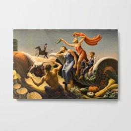 The Fruited Plain, Achelous and Hercules Mural Panel 3 landscape painting by Thomas Hart Benton Metal Print