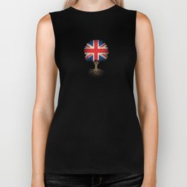 Vintage Tree of Life with Union Jack Flag of United Kingdom Biker Tank