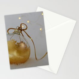 Golden Christmas Ball with Small Lights Stationery Cards