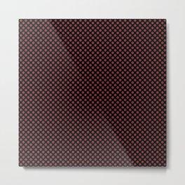 Black and Rosewood Polka Dots Metal Print