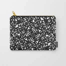 Chaotic white tangled and black lines. Carry-All Pouch