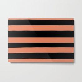 Fringe Orange, Orange Slice, Fiery Sky, Heirloom Tomato Hand Drawn Fat Horizontal Lines on Black Metal Print