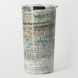 Rustic Wood Turquoise Weathered Paint Wood Grain Travel Mug