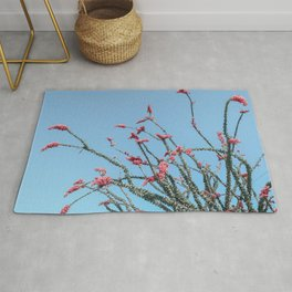 Pink Wildflowers // Cactus Plant Blue Sky Green Long Alien Brances Light Pink Flowers Rug