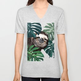Sneaky Sloth with Monstera Unisex V-Neck