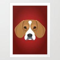 beagle Art Prints featuring Beagle by Three Black Dots