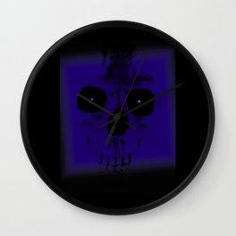 Blue Skull on Black Wall Clock