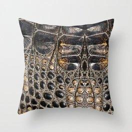 American alligator Leather Print Throw Pillow