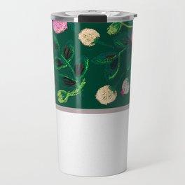 Chalk Flowers - Pink and Green Travel Mug