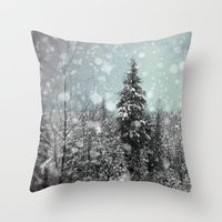 snow white Throw Pillows featuring Snow by Pure Nature Photos