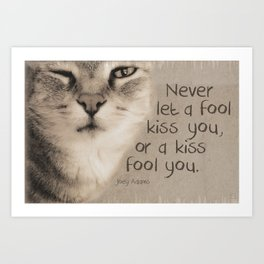 Kitty Kiss Art Print