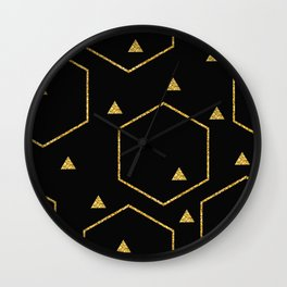 Golden Glitter Design Black Geometric Intrigue Wall Clock