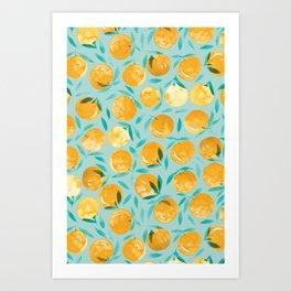 Winter Oranges | Mint Background Art Print