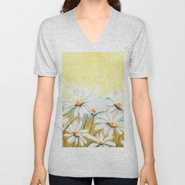 Daisies Watercolor Unisex V-Neck