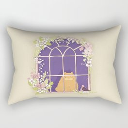 Kitty Cat In A Springtime Window With A Fancy Friend Rectangular Pillow