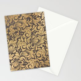 Gold foil swirls damask #11 Stationery Cards