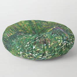 Brush and Underbrush flower and forest landscape by Vincent van Gogh Floor Pillow