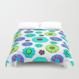 Flower Pattern-Teal Duvet Cover