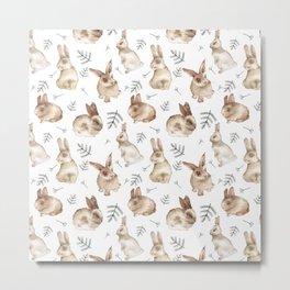 Bunnies and Leaves Metal Print
