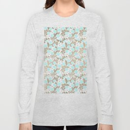 Modern faux gold teal white hand painted floral Long Sleeve T-shirt