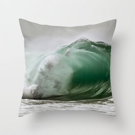 Green Barrel Spitting / Wedge Waves Throw Pillow