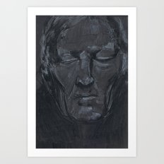 Portrait of man with eyes closed Art Print