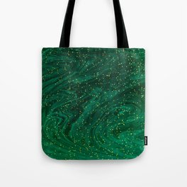 glitter marble in a malachite green marbleized effect painting Tote Bag