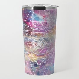 Watercolor and nebula sacred geometry  Travel Mug
