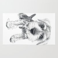 schnauzer Area & Throw Rugs featuring Schnozz the Schnauzer by Beth Thompson