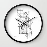 milwaukee Wall Clocks featuring Milwaukee by linnydrez