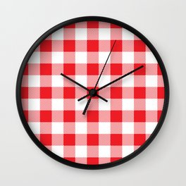 Red and white Christmas plaid geometric pattern Wall Clock