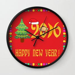 Happy new year 2016 in red Wall Clock