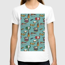 Toy Instruments on Teal T-shirt