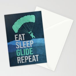 Paraglider Skydiver Parachute Stationery Cards