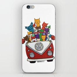 Cool Cats in Red Camper iPhone Skin