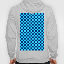 Cyan and Navy Blue Checkerboard Hoody