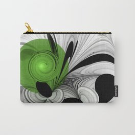 Abstract Black and White with Green Carry-All Pouch