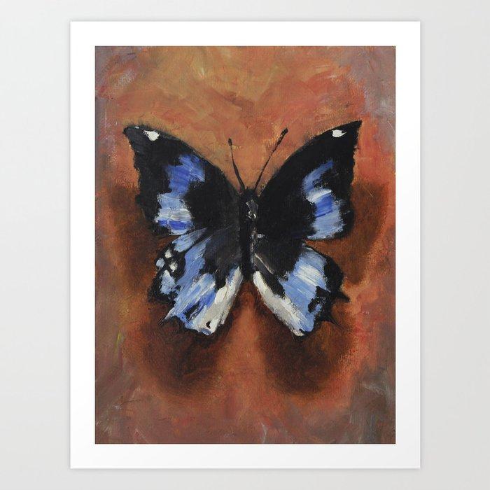 Black & Blue Butterfly Art Print