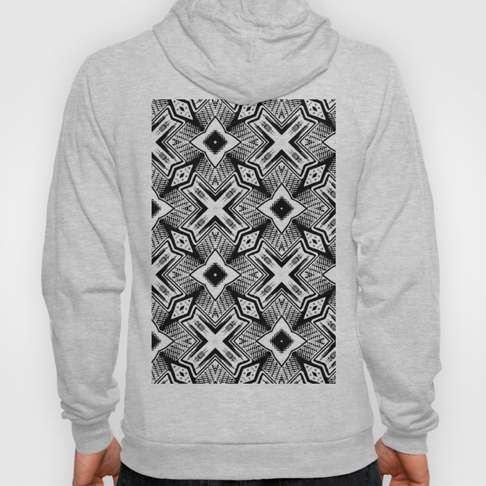 Black and White - Woodcut Etching Cross Geometric Hoody