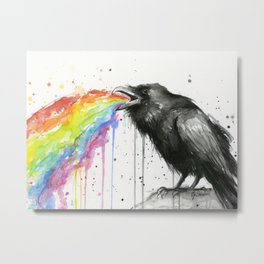 Raven Tastes the Rainbow Metal Print