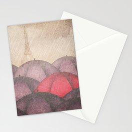 Umbrellas Rain Paris Stationery Cards