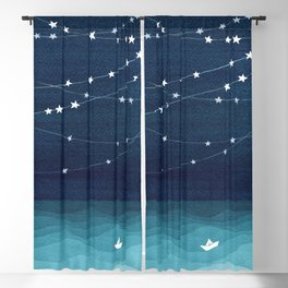 Garlands of stars, watercolor teal ocean Blackout Curtain