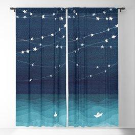 Garlands of stars, watercolor teal ocean Blackout Curtain